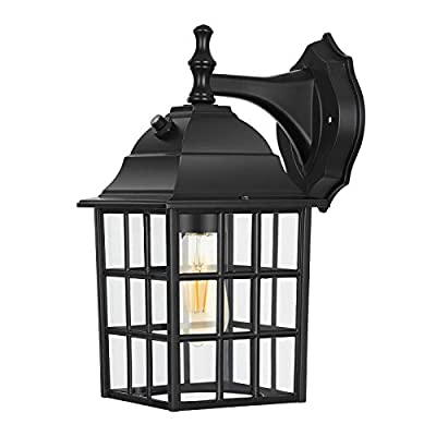 DEWENWILS Dusk to Dawn Outdoor Lighting, Exterior Wall Sconce with Photocell Sensor, E26 Socket, Anti-Rust & Waterproof, Black Wall Light Fixture for Porch, Garage, Doorway
