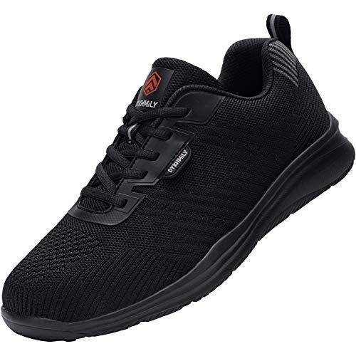 Zapatillas de Seguridad Hombre Zapatos de Trabajo con Punta de Acero Transpirable Reflectante Botas de Seguridad(Negro Azabache,43)