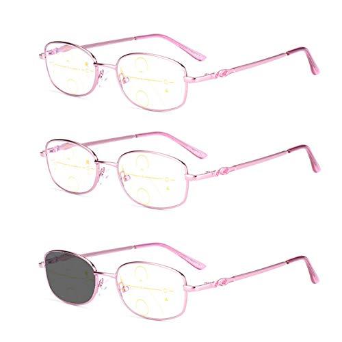Lesebrille für ältere Menschen, Anti-Blau-Strahlen, Farbverfärbung, Progressive multifokale Lesebrille, Enthält eine Sonnenbrille, Fern- und Nahbrillen mit doppeltem Verwendungszweck, Rosa, 3er-Pack
