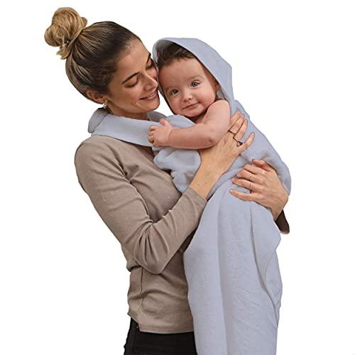 SIMPLY GOOD. Delantal de Toalla para bebés y bebés recién Nacidos, 100% algodón, Manos Libres, con Capucha, Grande, Toalla de baño para bebé y toallita para niño y niña (Gris)