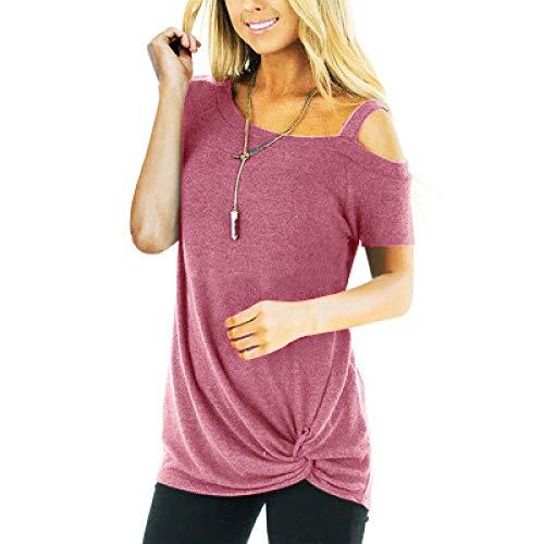 Camiseta de MujerPrimavera Verano Casual de Manga Corta con Hombros Descubiertos Señoras Tops Camisetas Moda Ropa Femenina Camiseta de Mujer