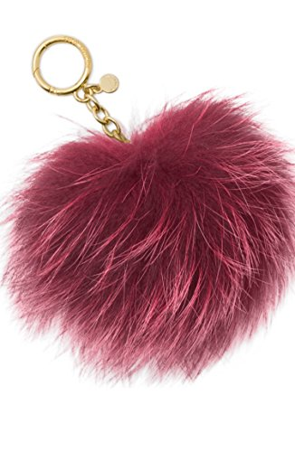 Michael Kors Fur Pom Pom Keychain Charm Red