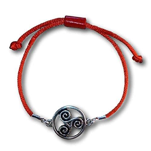 KERALA Pulsera cordón Seda con TRISKEL en Peltre. Nudo corredizo. (Rojo)
