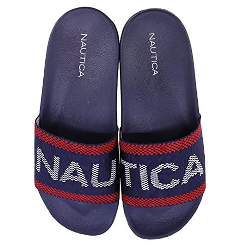 Nautica Women's Athletic Slides, Sandals, Shower Shoe, Fashion Slide-Above View-Red White Blue-7