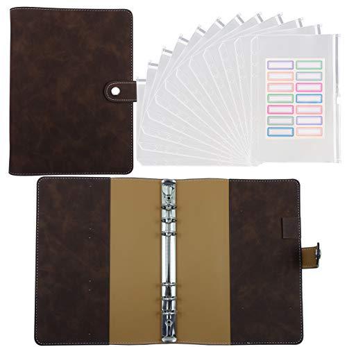 A5 Budget Binder with Cash Envelopes, Binder Pockets 12 PCS with Pu Leather A5 Notebook Binder Cover, Budget Envelope System, Budget Planner Financial Planner Organizer Book - Dark Brown