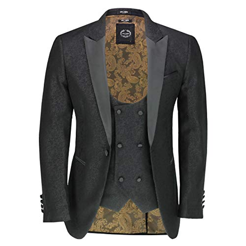 Xposed Men's Retro Damask Print Dinner Suit Jacket Black Peak Lapel Tailored Fit Tuxedo Blazer & Waistcoat[TUX-LUCA-985-BLACK-42,42,Black]