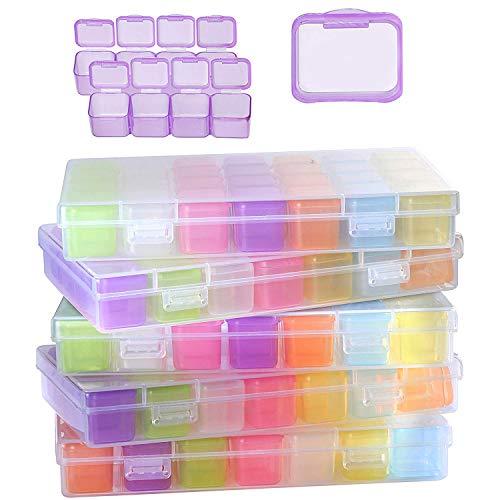 Cajas Organizadoras de Plastico (Pack de 5) - Cajas de Almacenaje (28 Compartimentos Cada una) - Organizador Desmontable Artículos Pequeños Bordado, Pastillas, Abalorios, Hacer Bisutería