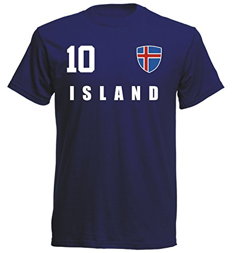 Island WM 2018 T-Shirt Fußball Trikot Sport - Navy ALL-10 - S M L XL XXL (XL)