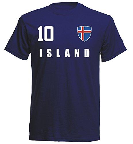 Island WM 2018 T-Shirt Fußball Trikot Sport - Navy ALL-10 - S M L XL XXL (L)