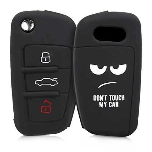 kwmobile Funda Compatible con Audi Llave de Coche Plegable de 3 Botones - Carcasa Protectora Suave de Silicona - Don't Touch my Car