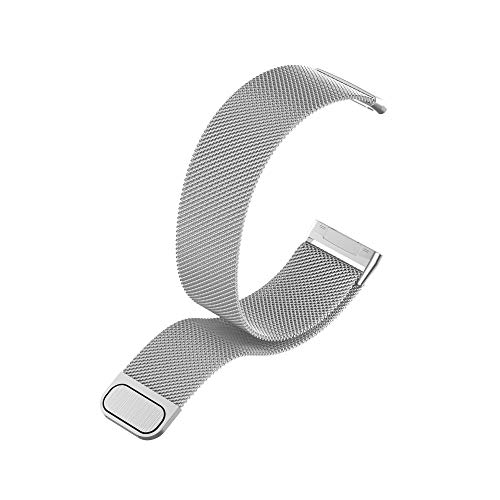 Metall Armband Kompatibel mit Fitbit Versa 3 / Fitbit Sense, mit Magnetverschluss in Silber, L