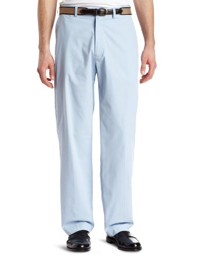 Haggar Mens Haggar Comfort Belted Poplin Plain Front Pant,Sky,32/30