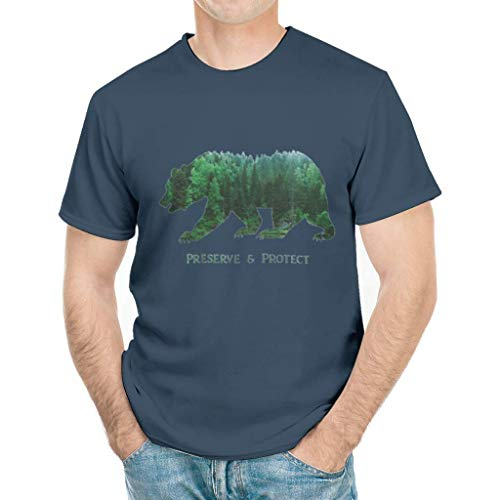 AZSTEEL Preserved & Protect Bear National Park Camping Forest Outdoo| T Shirt for Men Comfortable Fit Wearable Anywhere, White and Black T-Shirt in Sizes S-3xl