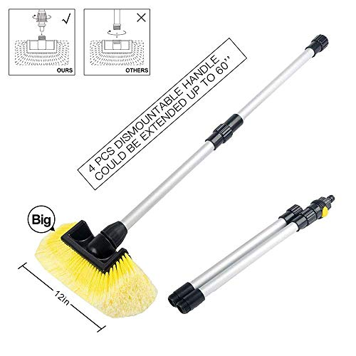 SENGO Car Wash Brush with 12'' Lock Type No Loose No Rotate Soft Bristle Brush and 60'' Dismountable Pole with on/Off Switch for Maximum Cleaning