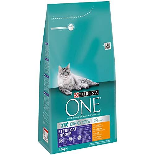 ONE Gatos Esterilizados de Interior Rico en Pollo y Cereales Integrales 1,5 Kg - 1500 gr ✅