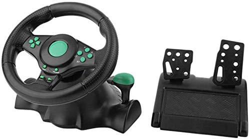 YZSL USB Ordinateur Vibration Volant, Jeu de Course 180 ° Car Simulator réactive Pédale Racing Ordinateur Jeu Volant Double Moteur de Vibration,Vert