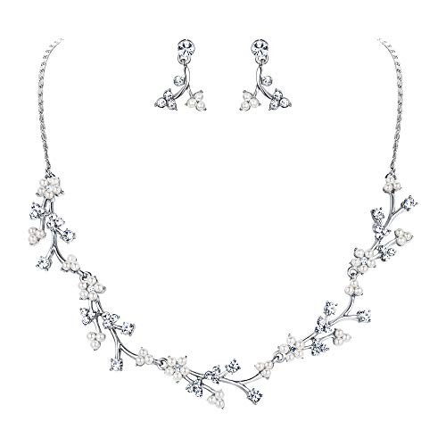 EVER FAITH Austrian Crystal White Simulated Pearl Bridal Floral Leaf Vine Jewelry Set Clear