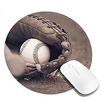 丸型マウスパッド ゲーミングマウスパッド ベースボールパターン おしゃれ オフィス自宅兼用 滑り止めゴム底 耐洗い表面 厚地 精密度アップ 光学式マウス対応 20*20cm 厚さ3mm