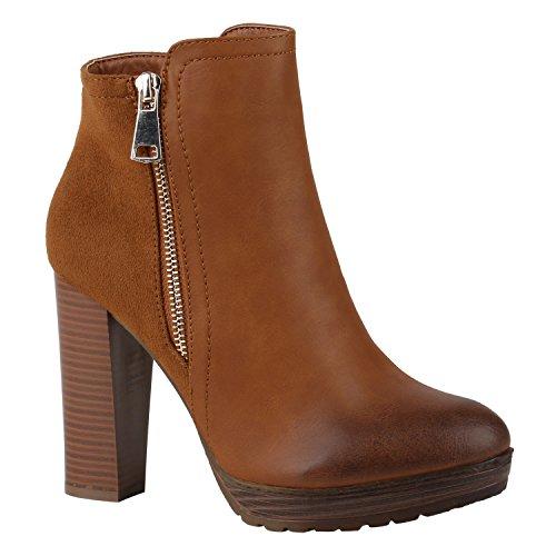 stiefelparadies Damen Schuhe 144353 Stiefeletten Hellbraun Zipper AUTOL 37 Flandell
