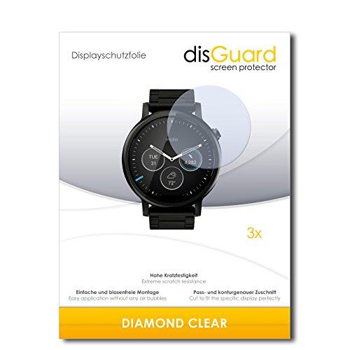 disGuard 3 x Schutzfolie Motorola Moto 360 (2015) 46mm Displayschutz Folie DiamondClear unsichtbar