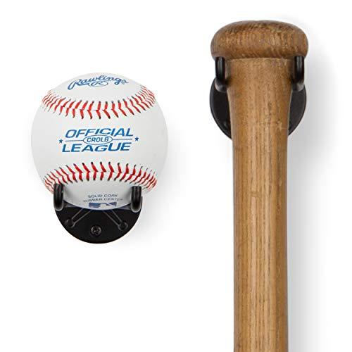 Wallniture Sporta Baseball Holder, Baseball Bat Wall Mount Display Stand for Man Cave Decor, Sports Memorabilia Ball Storage Rack Set of 2. Black
