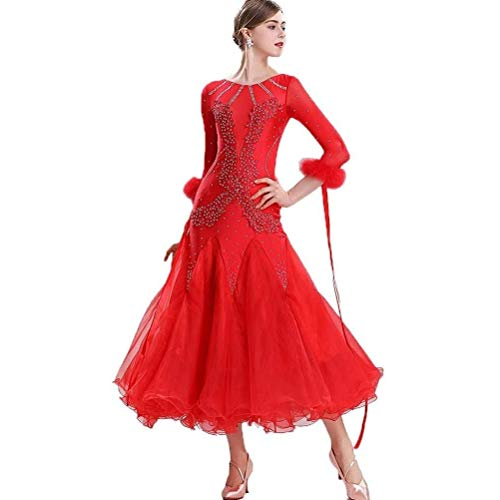 Flamenco National Standard Dance Dresses Waltzのドレス羽のスカート (色 : Red, Size : Small)