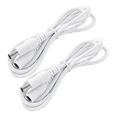 LitaElek 2x 2.5m/8.2ft DC 12V Extension Cable with 2.1mm x 5.5mm DC Plug Adapter DC 0-36V Male to Female Power Cord for Car Monitor, CCTV Wireless IP Camera, LED Strip Light, etc.(2.5m, 2pcs, White)