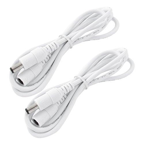 LitaElek 2x 5m Cable de extensión DC 12V con adaptador de CC de 2,1 mm x 5,5 mm DC 0-36V cable de alimentación macho a hembra para monitor de coche, cámara IP CCTV, tira LED, etc. (5m, 2pcs, blanco)