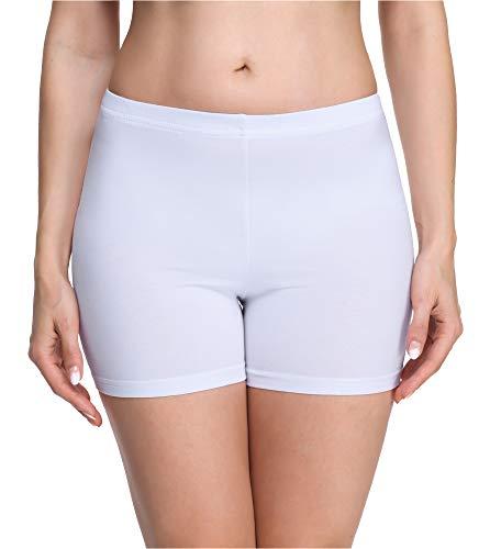 Merry Style Damen Shorts Radlerhose Unterhose Hotpants Kurze Hose Boxershorts aus Viskose MS10-283(Weiß,L)