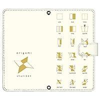 iPhone12 6.1inch ケース [デザイン:8.ORIGAMI_手裏剣_アイボリー/マグネットハンドあり] ORIGAMI 折り紙 手帳型 スマホケース カバー アイフォン12 ip12