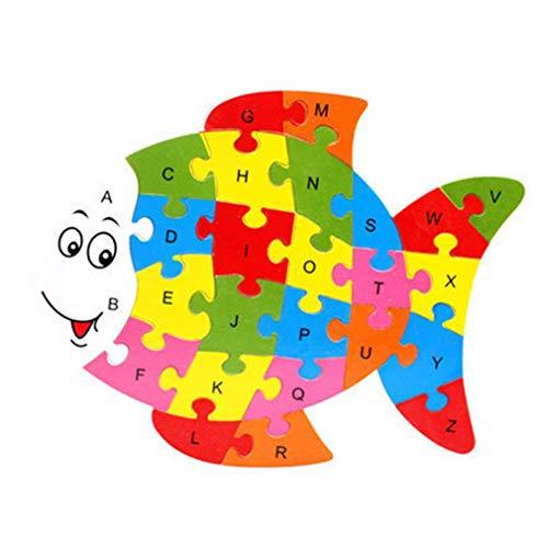 26 stuks houten puzzel dieren alfabet puzzel speelgoed herkenning leren educatieve blokken intelligentie teelt, vis