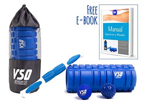 VSO Products Rodillo de espuma Foam Roller - Rulo rehabilitación y bolas de masaje, el mejor kit de masaje (libro de ejercicios en castellano) - Ideal para triatletas, runners, ciclistas, fútbol, yoga