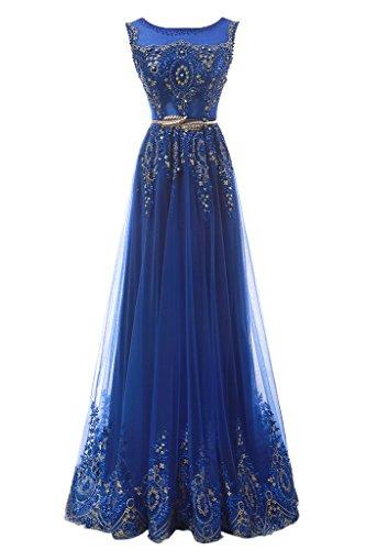 Promgirl House Damen Huebsch Royalblau A-Linie Spitze Ballkleider Cocktail Abendkleider Lang-40 Royalblau
