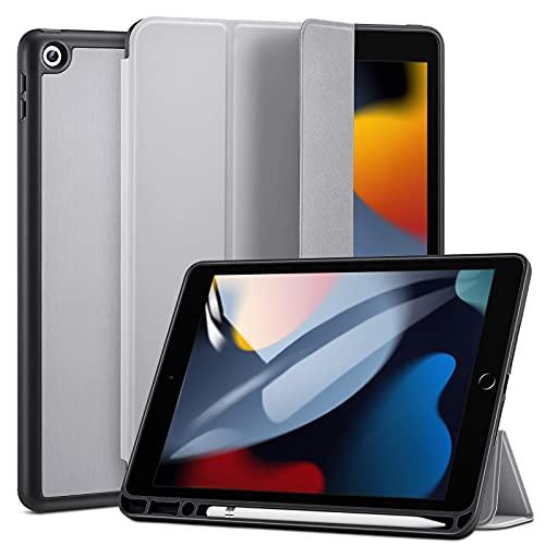 ESR Hülle kompatibel mit iPad 9/8/7 Generation mit Stifthalter, 10,2 Zoll 2021/2020/2019, Dual-Winkel Ständer, automatische Ruhe-/Wachfunktion, Grau