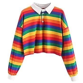 Women s Striped Crop Tops Collar Half Button Long Sleeve Polo Tee Shirt Fashion Cute Rainbow Stripe Tops for Teen Girl