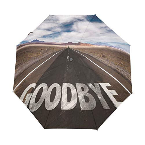 SUHETI Paraguas automático de Apertura/Cierre,Adiós Escrito en la Carretera de Asfalto en la Ciudad de la autopista Palabras urbanas,Paraguas pequeño Plegable a Prueba de Viento
