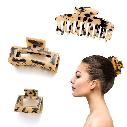 Haarspangen Damen,3 Stück Acetat Haarspange Leopard Print Platte Haar Grab Clip Französisch Anti Rutsch Haarspange Alligator Clip Haar Zubehör (leichter Kaffee)