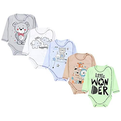 TupTam Unisex Baby Wickelbody mit Aufdruck 5er Set, Farbe: Junge 2, Größe: 56