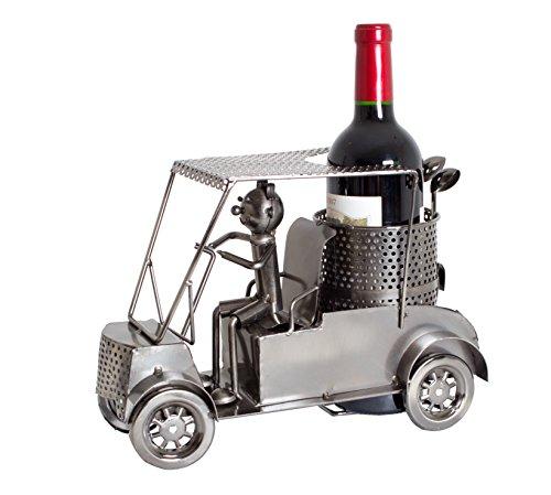 Brubaker Wein Flaschenhalter Golfer in einem Golfcart - Metall Skulptur - Geschenk mit Geschenkkarte - 2