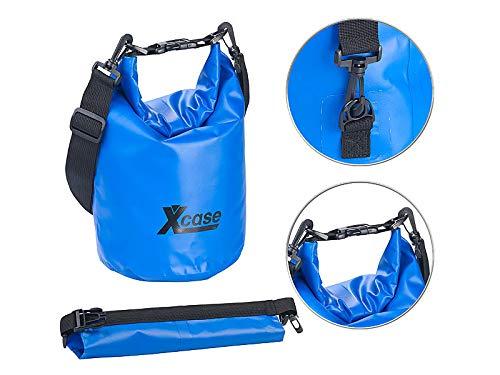 Xcase Motorrad Sack: Wasserdichter Packsack, strapazierfähige Industrie-Plane, 5 l, blau (Trockensack)