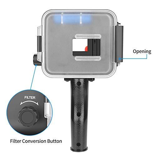 awhao-123 Fotografía de iluminación subacuática con luz de Relleno de Buceo 1pcs con Flash para Gopro Hero5 / 6/7, Negro Value