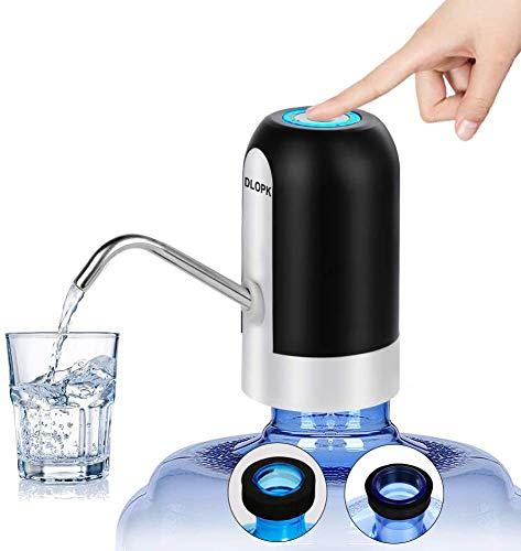 DLOPK Dispenser di Acqua, 5 Gallon USB Ricarica Automatica Pompa per Acqua Portatile elettrica, Rimovibile, Adatta all'Uso in Acqua imbottigliata.Nero