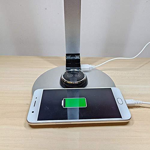 Moderno Minimalista Nuevo Cabeza doble Doble Tres engranajes Dimensión USB Carga Multi-ángulo Plegable Trabajo Aprendizaje LED PROTECCIÓN DE EYURA Lámpara Táctil Interruptor Táctil (Color: Negro) kshu
