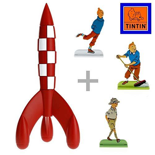 Moulinsart Pack de Collection: La fusée Lunaire de Tintin avec Trois Figurines en Relief