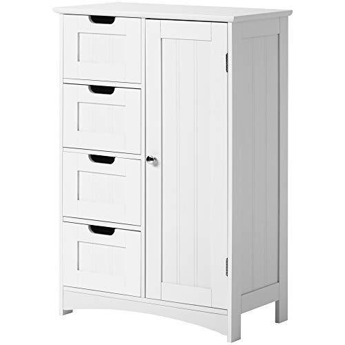 Sideboard Badezimmerschrank, Badschrank aus Holz Beistellschrank Kommode, Schranktür, Wohnzimmer, Küche, Flur, tief, freistehend, weiß (4 Schubladen)