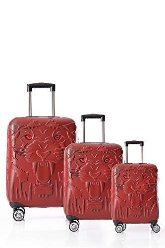 CCS Tiger 8 Wheels Model Suitcase Travel Luggage Bag Lightweight Hardcase ABS Burgundy 3 pcs Set