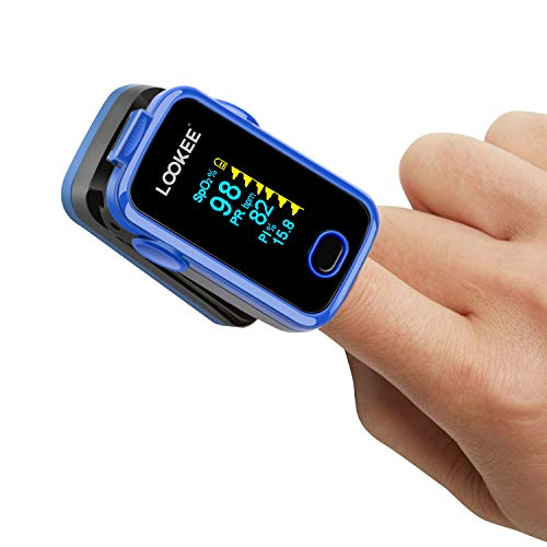LOOKEE Premium Blood Saturation Monitor with Alarm and PI, OLED Display, Carry Case, Batteries and Lanyard Included