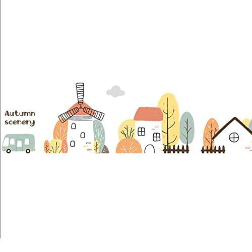 Jcnfa Material De Diseño De Kindergarten Materiales Decoración De La Pared, Edificio De Dibujos Animados Línea De Cintura Pegatinas, Papel Autoadhesivo De La (Size:14.17*94.48in,Color:Pueblo de otoño)