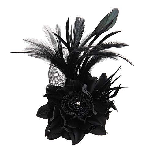 BROOCHPS Broche Ceremonial De Boda Tejido Artesanal Hecho A Mano Flores Grandes, Negro