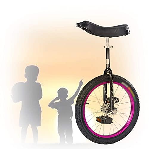 YQG 16/18/20/24 Zoll Einrad, Für Anf?nger Kinder Erwachsene übung Spa? Fahrrad Fahrrad Fitness Starker Stahlrahmen Geeignet Für Eine H?he Von 1,15 Bis 1,75 M (Color : Purple, Size : 20 inch)